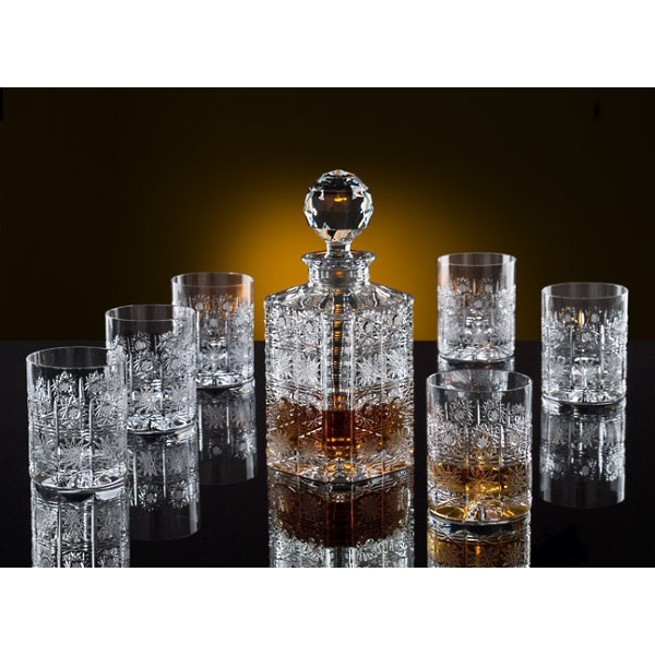 la maison du cristal whiskey decanter set with 6 glasses bohemia crystal. Black Bedroom Furniture Sets. Home Design Ideas