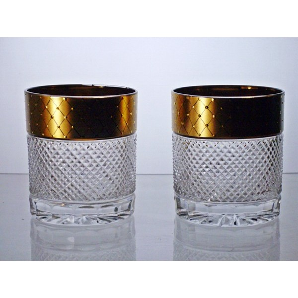 coffret de 2 verres whisky le cristal et l 39 or. Black Bedroom Furniture Sets. Home Design Ideas