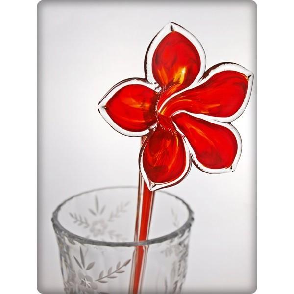 La maison du cristal fleur en cristal rouge - La maison du cristal ...