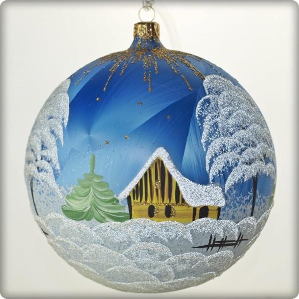 La Maison du Cristal   Boule de Noël en verre   bleue claire 15cm