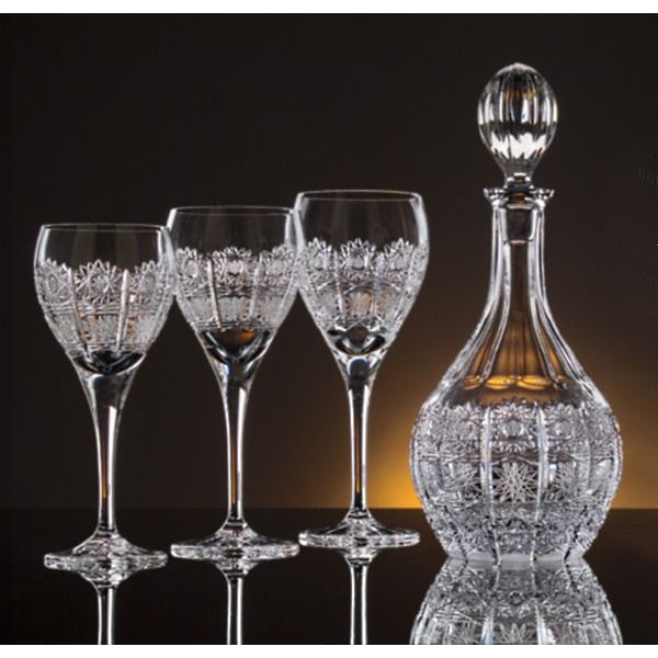 box of 6 glasses bohemia crystal. Black Bedroom Furniture Sets. Home Design Ideas