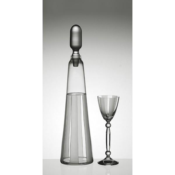 carafe d canter et 6 verres collection rayure grise. Black Bedroom Furniture Sets. Home Design Ideas